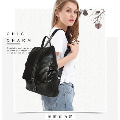 厂家直销韩版时尚真皮双肩背包 真皮女背包