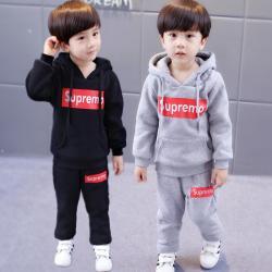 YGTND07103 字母卫衣套装 一件代发童装儿童秋冬休闲套装中小童长袖连帽运动服男童卫衣潮