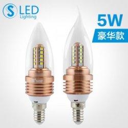 S3S 超高亮LED尖泡5W 航空铝质E14小螺口拉尾蜡烛泡吊灯节能灯泡