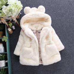 ADXD05503兔子毛毛衣 一件代发童装2017秋冬童装新款女童兔子棉袄大衣中小童毛毛衣外套