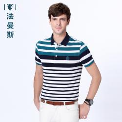 """法曼斯夏装条纹<span class=""""gcolor"""">短袖T恤</span>男士2016新款翻领商务休闲薄款POLO衫短t"""