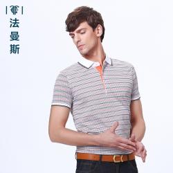 """法曼斯2016夏季翻领<span class=""""gcolor"""">短袖T恤</span>青年男士商务休闲条纹短袖衫薄款透气"""
