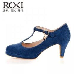 【洛琪】2016年洛琪春夏新品 蓝色磨砂真皮女鞋 中跟T字搭扣单鞋 包跟凉鞋RW3X1141