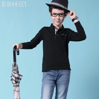BUBOOFEEY 男童格纹翻领长袖T恤 624#