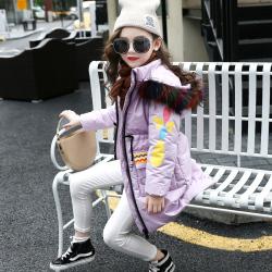 TJD06106 花瓣棉服 一件代发童装女童棉衣2017中大童冬装外套韩版加厚棉袄中长款棉服