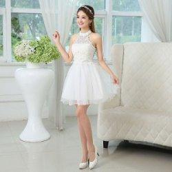 姐妹团红小礼服伴娘团白色伴娘裙