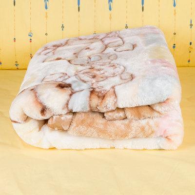 上品婴 卡通拉舍尔童毯 咖色毛毯亲肤柔软车毯 空调毯