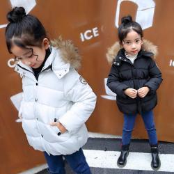 XGMMDD06702 808毛领羽绒棉服 一件代发女童中长款加厚棉衣2017中大童韩版冬季装棉袄棉服外套潮
