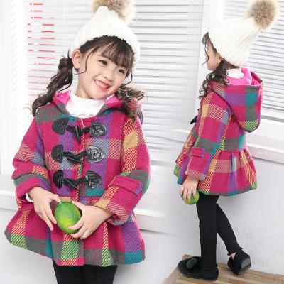 一件代发新款童装冬季大衣女童格子夹棉外套呢子上衣儿童加厚风衣