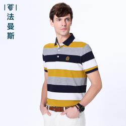 """法曼斯2016新春纯棉条纹<span class=""""gcolor"""">短袖T恤</span>青年男装翻领薄款商务薄款POLO衫"""