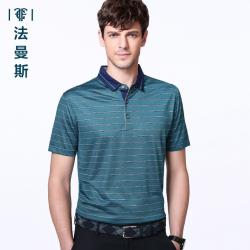 """法曼斯2016夏季<span class=""""gcolor"""">短袖T恤</span>男士商务休闲青年翻领经典条纹短袖衫"""