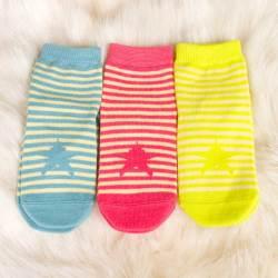 上品婴条纹袜子童袜宝宝袜子(三双装)