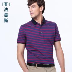 """法曼斯2016夏季<span class=""""gcolor"""">短袖T恤</span>男士商务休闲青年玫红色条纹薄款短袖衫"""