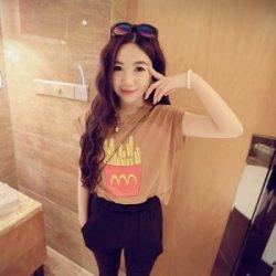 【艾琳美】 夏季新款 薯条短款T恤上衣  ZDI1135