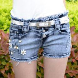 依晨 2016春装新款韩版女装水洗弹力卷边显瘦高腰牛仔短裤女6659