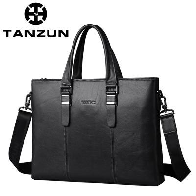 TANZUN/天尊 英伦时尚男士商务头层牛皮手提单肩包 T7007