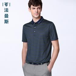 """法曼斯2016夏季翻领<span class=""""gcolor"""">短袖T恤</span>男士商务休闲青年绿色条纹短袖衫"""