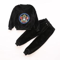 LDKTXL66806 双面绒绣花套装 一件代发2017秋款韩版百搭女童套装女孩中大童条纹t恤两件套潮衣