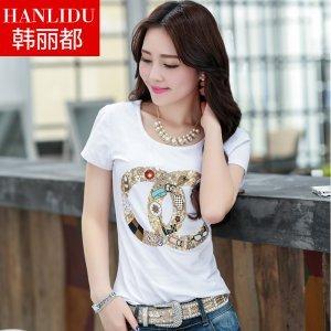 金丽都 韩版夏装圆领短袖T恤33319