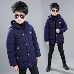 QBX06306H 飞行标棉衣 一件代发童装男童棉衣2017冬装儿童长款棉袄中大童棉服冬季外套潮