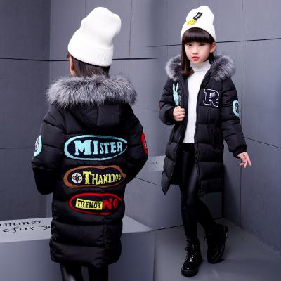 TJD06106 剪刀手棉服 一件代发女童棉衣2017新款冬装韩版中大童儿童棉袄加厚中长款外套