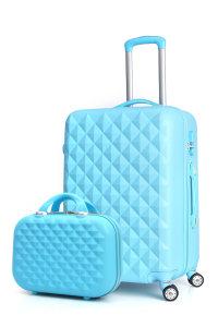 时尚钻石纹子母套装旅行行李拉杆箱...