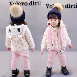 YGBB2D03307 电子熊猫三件套 一件代发女童冬装套装2017童装女孩运动儿童卫衣三件套加绒加厚拆