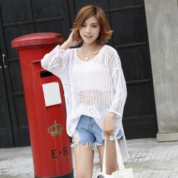 奥迪纱 韩板夏季蔳款搂空中长款针织外搭开衫女七分袖、空调衫 004#