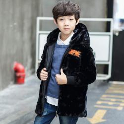 一件代发2017冬季新款外套男童小男孩加棉加厚学生仿皮草毛毛衣潮