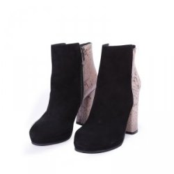 belmani  女款黑色羊京皮/蛇纹压花高跟6寸短靴 128-24005-01