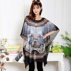 衣爱衣 百搭女夏季个性艺术印花蝙蝠衫大码雪纺衫 Y8503A14