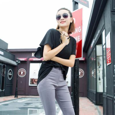 茱俐哆祺 2017春夏新款圆领韩版领口镂空T恤 MJ1015#