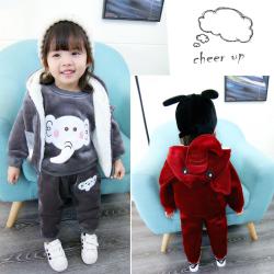 JTQD11301 大象三件套 一件代发2017新款韩版儿童加绒加厚女童卫衣三件套卡通大象套装