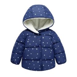 一件代发2017新款童装韩版五角星图案加绒加厚棉衣冬男童女童外套