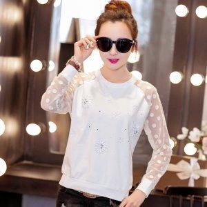 【特价包邮】 金丽都 韩版春款网纱长袖T恤66026