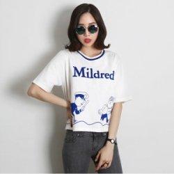 【艾琳美】韩版宽松T恤 童趣印花短袖T恤 女ZDI1132