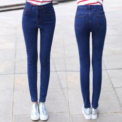 韩雪菲 韩版高腰牛仔裤女大码弹力小脚修身显瘦长裤9905