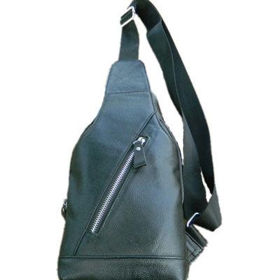 头层牛皮男士时尚休闲户外真皮斜跨胸包运动旅行小包一件代发