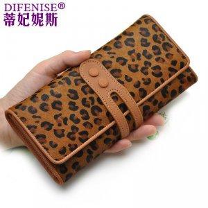 蒂妃妮斯新品特价时尚小豹纹钱包女士长款大容量钱夹皮夹 5918