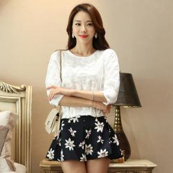 欧宇 秋冬新款韩版七分袖腰部拉链收腰蕾丝上衣 6283