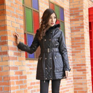 【桦装】时尚简约棉衣外套带毛毛帽帽 6167H