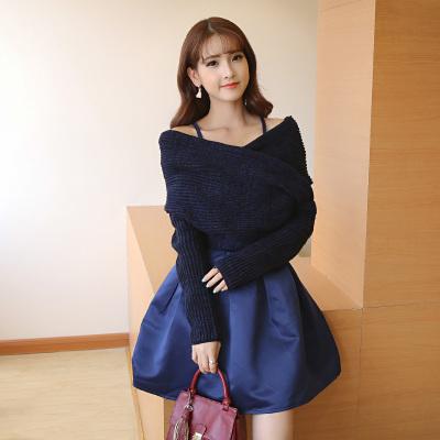 女人志 2018春季新款不规则毛衣吊带公主裙毛衣套装 8103