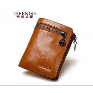 【蒂妃妮斯】短款油蜡牛皮钱夹两折超软超薄韩版小皮夹 6358