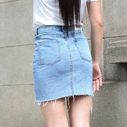 【特价包邮】莲飞 拉链中裙做旧牛仔布新款百搭流苏毛边女高腰显瘦A字裙 1103