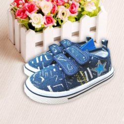 2016新款童鞋 男童韩版童鞋 深蓝色帆布鞋宽松潮板鞋星星小童鞋