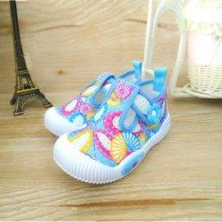 2016夏韩版童鞋女童棉鞋心形大花板鞋小童棉布鞋蓝色帆布鞋护趾