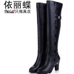 依丽蝶  2016新款真皮长靴子女靴冬季高跟过膝长靴防水台长筒靴女鞋皮靴