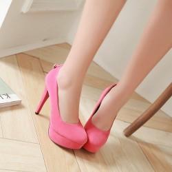 """恨天高12厘米<span class=""""gcolor"""">高跟鞋</span>性感夜店场细跟纯色单鞋防水台一件代发"""