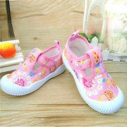 2016夏韩版童鞋女童棉鞋心形花花小童棉布鞋护趾耐磨粉色帆布鞋