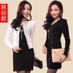 【特价包邮】金丽都 韩版春装短款长袖修身烫钻小西服外套女83020